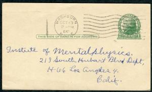Postcard - Washburn ME TO Los Angeles CA - OCT 13 1943 COL-G1W CANCEL - S6404