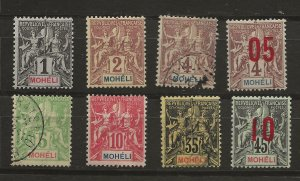 Moheli 1906-12 8 different MH and Used Avg-VF SCV $24.10 (jr)