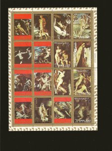Ajman Nude Art 1970's Sheet of 16 Stamps CTO PLEASE READ NOTE