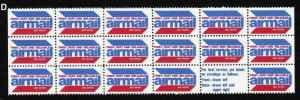 1980s AIRMAIL labels MNH block of 18 with label, red white blue D