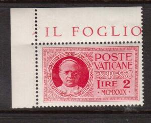 Vatican City #E1 VF/NH Corner Stamp