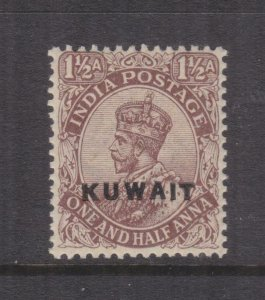 KUWAIT, 1923 on India, Star watermark, KGV 1 1/2a. Chocolate, lhm.