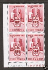 Venezuela Sc C460 MNH. 1956 1.20b rose red Oil Refinery, block of 4, VF