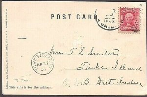 TURKS & CAICOS 1907 postcard from USA with fine TURKS ISLAND arrival cds...35249
