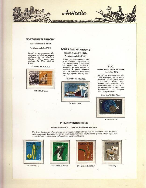 .AUSTRALIA 1969 on Illus. Page all MUH Page not included Items rem. for Post