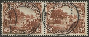 South Africa 1927-28 London Pictorials 4d Scott #28 PAIR Fine Used CV $67.50