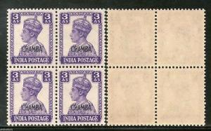 India CHAMBA State 3As Postage LITHOGRAPH KG VI SG 114 / Sc 95 BLK/4 Cat£108...