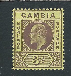 GAMBIA 1909 3d PURPLE/YELLOW DENTED FRAME MM SG 75b CAT £275