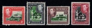 St Vincent 1951 George VI def. Optd. 'New Constitution 1951', Set [Unused]