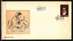 Romania, Scott cat. 2215. Composer Beethoven issue. First day Cover. ^
