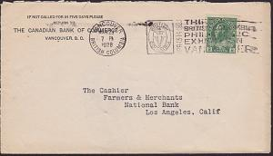 CANADA 1928 cover ex Vancouver - Stamp exhibition slogan cancel.............7668
