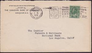 CANADA 1928 cover ex Vancouver - Stamp exhibition slogan cancel.............7668
