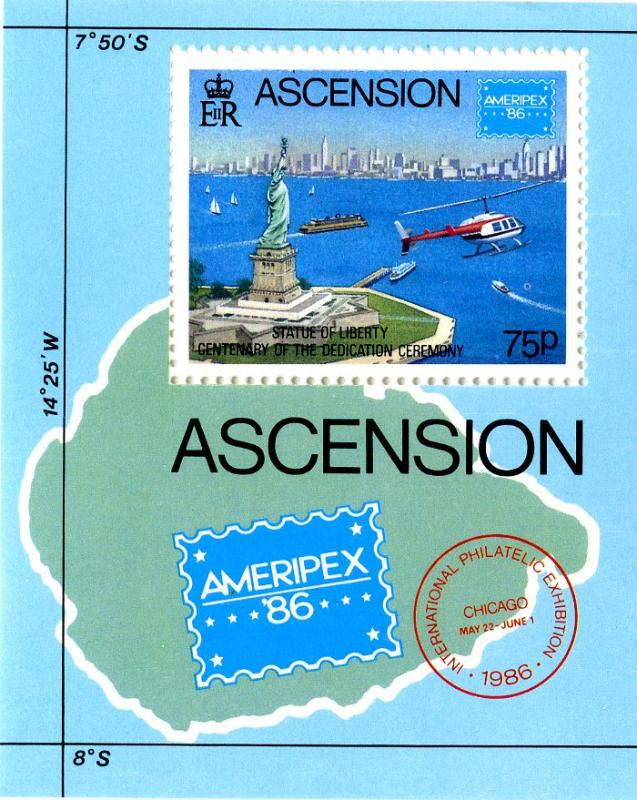 ASCENSION 398 S/S MNH SCV $3.50 BIN $2.25