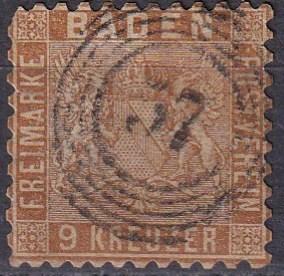 Baden #17 F-VF Used  CV $180.00 (K2079)