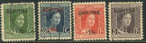 LUXEMBOURG Sc#B7-B10 1924 CARITAS Ovpt. Complete Set Used