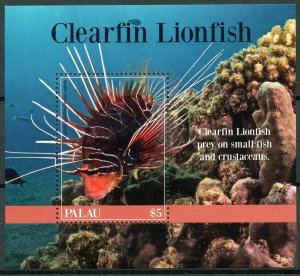 Palau 2019 MNH Clearfin Lionfish 1v S/S Corals Fish Fishes Marine Stamps