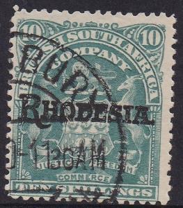 RHODESIA 1909 OVERPRINTED ARMS 10/- USED
