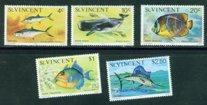 St Vincent Scott 410,14,17,22,23 MNH** 1976 Fish Reissues