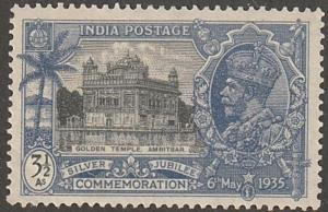 India stamp, Scott#147, MH, Silver jubilee, 3 1/2 pies, Golden Temple,  #In147