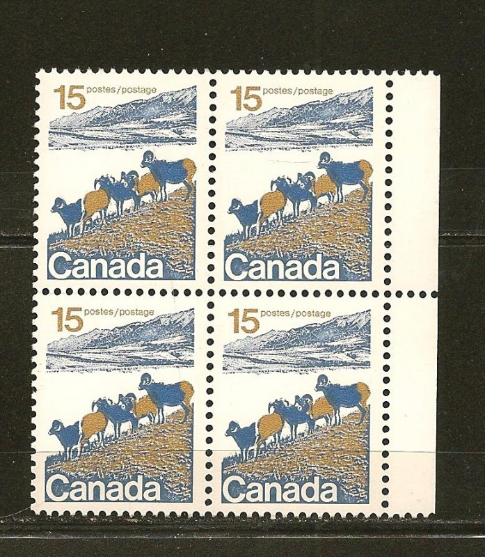 Canada 595 Mountain Sheep 15 Cent Block of 4 MNH