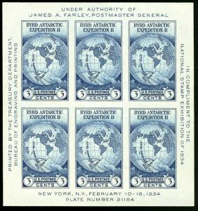 US #735 SUPERB mint never hinged, no gum as issued,  3c Byrd Souvenir Sheet, ...