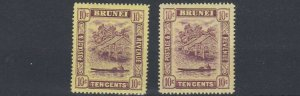BRUNEI  1908   S G 42 + 42A  2X 10C   VALUES   MH   LIGHTLY TONED