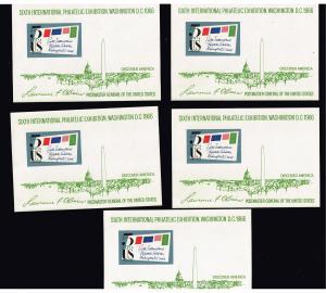 US STAMP # 1311 5c SIPEX Souvenir Sheet MNH X 5