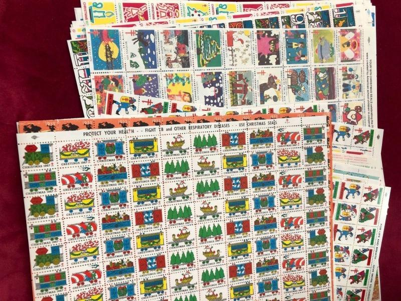 Christmas Seals All Full Sheets.Beautiful Color and Undervalued 7 Different.