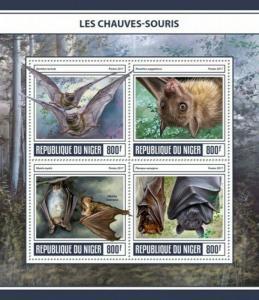 Niger - 2017 Bats on Stamps - 4 Stamp Sheet - NIG17309a