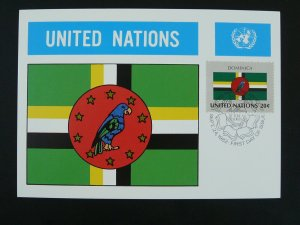bird parrot national flag of Dominica maximum card United Nations UNO 1982