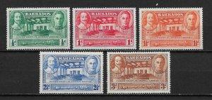 Barbados 1939 Scott # 202-206 VF-OG Mint Lightly Hinged ,nice colors ! (BC-1)