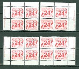 CANADA 1977 DUES #J39 PERF 12.5x12  PVA ...PLATE CORNERS SET MNH...$14.00