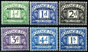 HERRICKSTAMP SOUTHERN RHODESIA Sc.# J1-6 1951 Ovpt. on Great Britain Mint NH