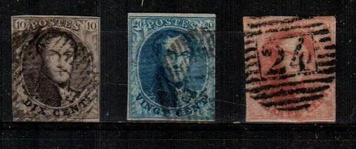 Belgium Scott 6-8 Used (Catalog Value $126.00)