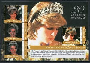 St Vincent & Grenadines 2017 MNH Princess Diana 20th Mem 4v M/S I Royalty Stamps