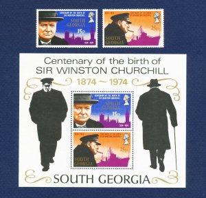 SOUTH GEORGIA - # 39-40 & 40a - VFMNH set & S/S   - Winston Churchill - 1974