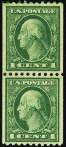448, Mint Superb NH 1¢ Coil Pair Very Well Centered GEM - Stuart Katz