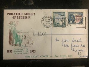 1955 Livingstone N Rhodesia First Day Cover FDC Centenary Of Discovery