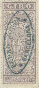 ESPAGNE / SPAIN / ESPAÑA 1874 Sello Fiscal (GIRO) 1,50 Escudo lila - Usado