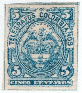 (I.B) Colombia Telegraphs : 5c Blue (1886)
