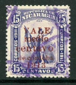 Nicaragua 1913 Gold Liberty ½¢/15¢  Sc 312 VFU Q504
