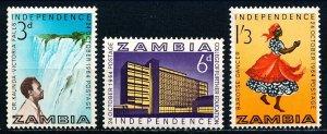 Zambia #1-3  Set of 3 MNH