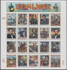 #2975w CIVIL WAR PANE OF 20 IMPERF MAJOR ERROR WL5746
