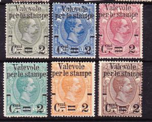 ITALY 1890  PARCEL POST OVPT SET 6 MH   Sc 58/63  SG 47/62