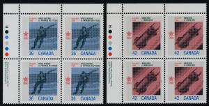 Canada 1130-1 TL Plate Blocks MNH Speed Skating, Bobsleigh, Winter Olympics