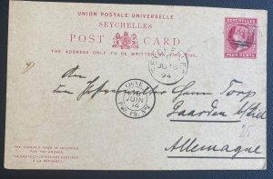 1894 Seychelles Postal Stationery Cover To Kiel Germnay Ligne T Paqueboat