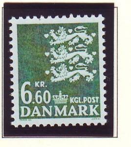 Denmark Sc 806 1988 6.6 kr  green 3 lions stamp mint NH