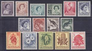 Australia Sc 314/330 MLH. 1959-1964 issues, 15 diff VF