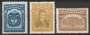 Colombia 1926 Sc 401-3 partial set MLH*