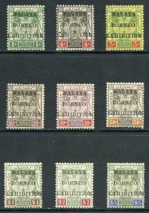 Kelantan SG30/8 Malaya Borneo Exhibition Set of 9 Mint (part gum)